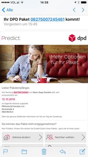 Versand mit DPD Predict