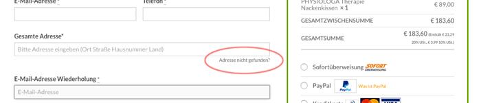 Geben Sie die Adresse manuell ein OHNE automatische Erkennung