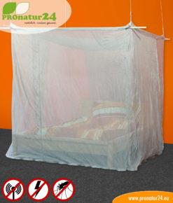 Baldachin fürs Doppelbett mit Schutz vor Elektrosmog durch Funk (HF) und elektrischen Feldern (NF)