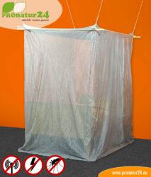 Baldachin fürs Einzelbett mit Schutz vor Elektrosmog durch Funk (HF) und elektrischen Feldern (NF)