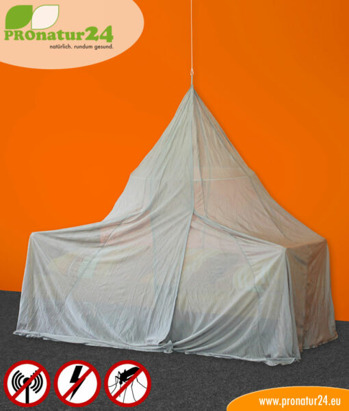 Baldachin fürs Einzelbett in Pyramidenform mit Schutz vor Elektrosmog durch Funk (HF) und elektrischen Feldern (NF)