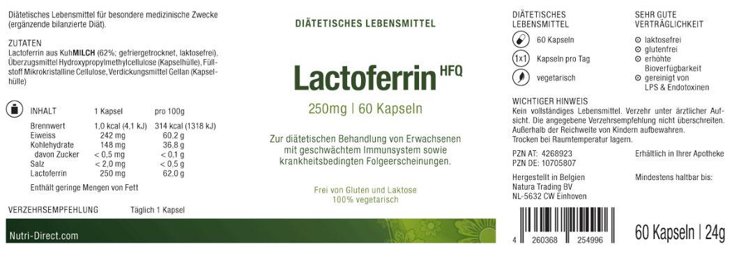 Lactoferrin, 250 mg, diätetisches Lebensmittel, Etikett
