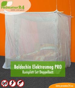 Baldachin SET Elektrosmog fürs Doppelbett in silberbeige