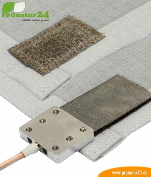 Anschluss der Erdungsplatte mit Klettverschluss auf abschirmender Bodenunterlage
