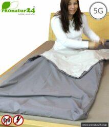 Abschirmender Schlafsack TSB Elektrosmog PRO mit Schutz vor HF Elektrosmog durch Funk bis zu 41 dB (WLAN, Handy). Erdung möglich (NF Hausstrom).