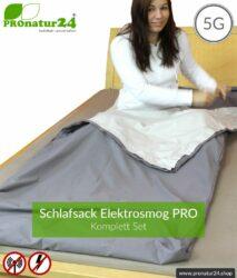 Abschirmendes Schlafsack SET Elektrosmog PRO all inclusive. Schutz vor Elektrosmog HF (bis zu 41 dB) für unterwegs. Erdbar. Wirkungsvoll gegen 5G!