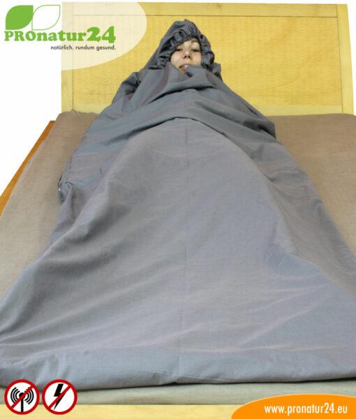 Schlafsack Elektrosmog PRO Kopfschutz mit Rundum Schutz vor Elektrosmog