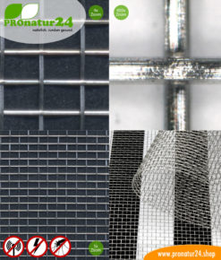 Edelstahlgewebe V1 unterm Mikroskop mit bis zu 40 dB Schirmdämpfung