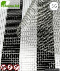 Edelstahlgewebe V4A03 mit Schirmdämpfung bis zu 40 dB gegen HF Elektrosmog. Erdbar. Ideal für Aussenwände. 5G ready!