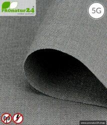 Abschirmstoff STEEL GRAY für Vorhänge, Bettwaren und Decken. HF Abschirmung bis 35 dB, erdbar. Wirkungsvoll gegen 5G!