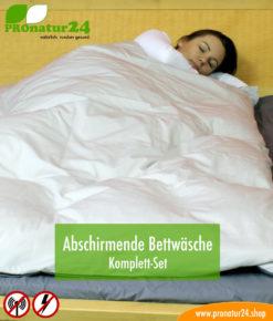 Funktionale abschirmende Bettwäsche im SET mit Erdungszubehör zur Reduktion der Strahleneinwirkung durch Elektrosmog
