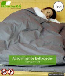 Abschirmende Bettwäsche TBL Set all inclusive. Abschirmung gegen HF Elektrosmog bis zu 41 dB (WLAN, Handy). Erdbar. Wirkungsvoll gegen 5G!