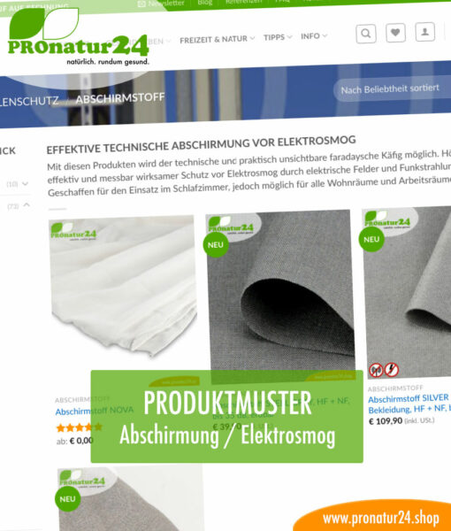 Produktmuster Abschirmprodukte gegen Elektrosmog