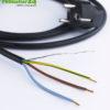 Geschirmtes Kabel mit Schuko Stecker und freiem Ende, schwarz