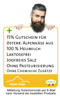 Zusatzvorteil 15 % Gutscheincode für Alpenkäse vom Alpen Sepp