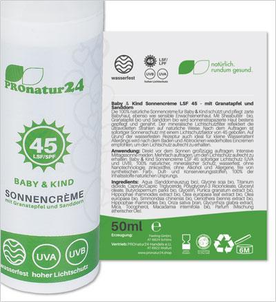 PROnatur24 Sonnencreme LSF 45, speziell für Baby & Kind