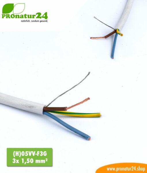 abgeschirmtes BIO Kabel (H)05VV-F3G 3x 1,50 mm²