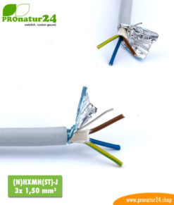 abgeschirmtes BIO Kabel (N)HXMH(St)-J 3x 1,50 mm²