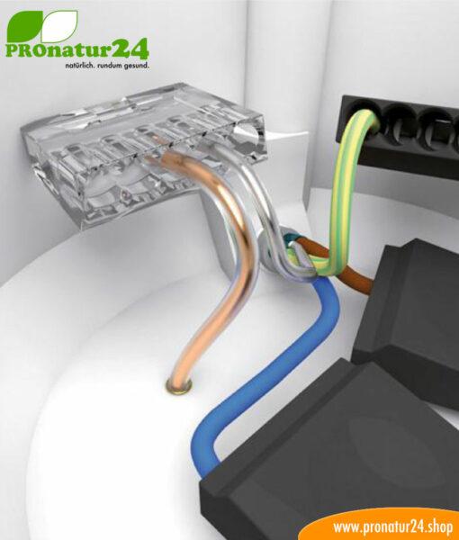 Dosenklemme für Beidraht vom geschirmten Elektrokabel in der geschirmten Putzdose