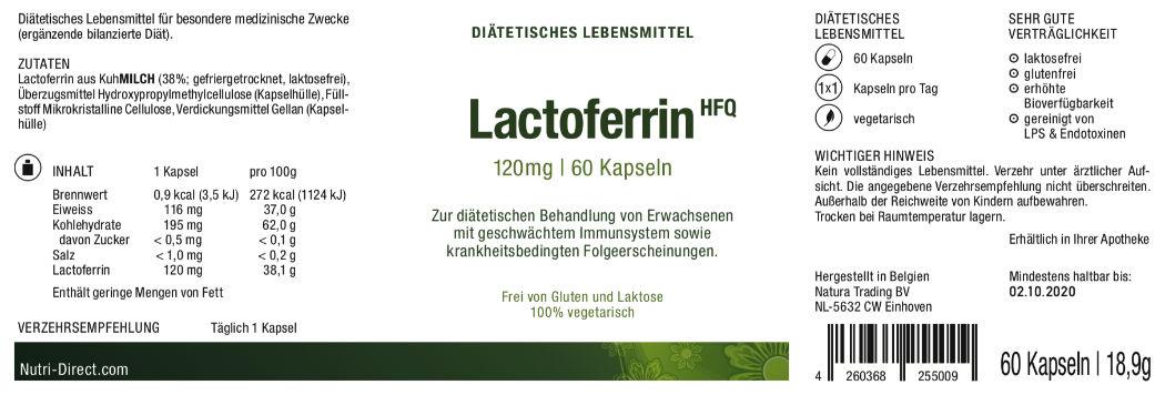 Lactoferrin, 120 mg, diätetisches Lebensmittel, Etikett