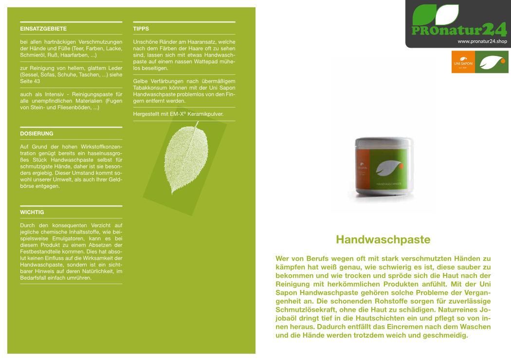 Anwendung der Handwaschpaste von UNI SAPON
