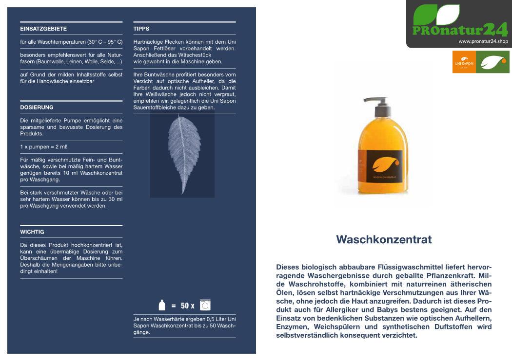 Anwendung vom Waschkonzentrat (Waschmittel) von UNI SAPON