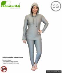 Abschirmende Kleidungs-Set mit Hoodie und Hose. Schutz bis 50 dB vor HF Elektrosmog (Handy, WLAN, LTE) für elektrosensible Menschen. Wirkungsvoll gegen 5G!
