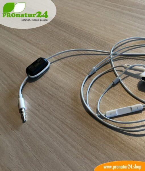Ferritkern Filter gegen Elektrosmog im Headsetkabel, klickbar, für Kabel bis zu 5 mm Durchmesser