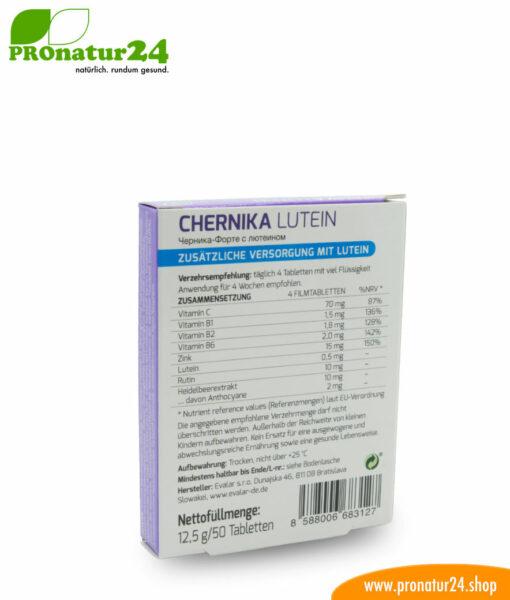 CHERNIKA LUTEIN VON EVALAR (Черника-Форте с лютеином). Glutenfrei, ohne Gentechnik, GMP.