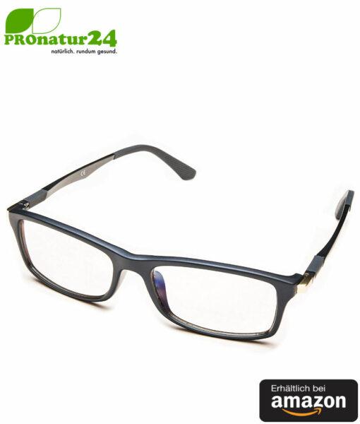PROSPEK Blaulichtfilter Brille DYNAMIC mit Blendschutz. Professionelle hochwertige PC Brille mit großem Rahmen fürs Arbeiten und Spielen am Computer. Schützt Ihre Augen vor blauem Licht! Erhältlich bei Amazon.