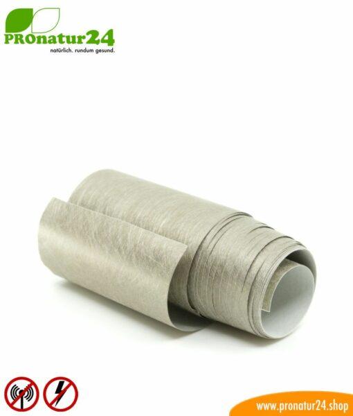 Selbstklebendes Abschirmvlies EB3 mit leitfähigem Kleber für auf Abschirmfarben und Abschirmgewebe. Breite 10 cm. HF und NF.