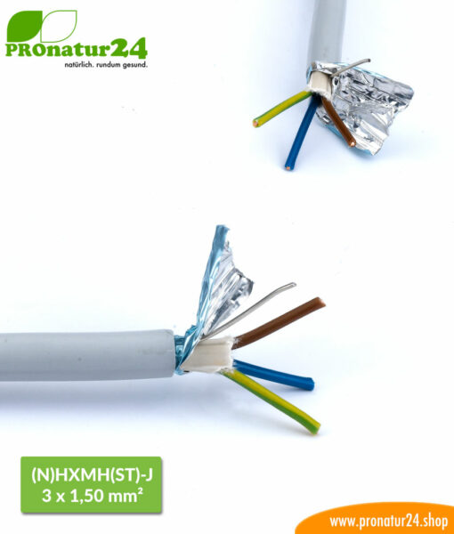 Geschirmte Elektrokabel Mantelleitung (N)HXMH(St)-J 3 x 1,5 mm. Halogenfreies und weichmacherfreies BIO Elektro Kabel zur Vermeidung elektrischer Felder.