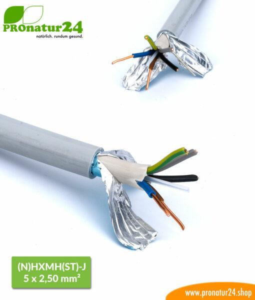 Geschirmte Elektrokabel Mantelleitung (N)HXMH(St)-J 5 x 2,5 mm. Halogenfreies und weichmacherfreies BIO Elektro Kabel zur Vermeidung elektrischer Felder.