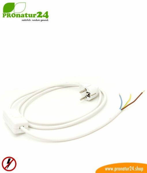 Geschirmtes Kabel mit Schnur-Zwischenschalter mit Schuko Stecker und freiem Ende, weiß (Typ EF)