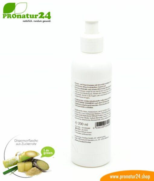 SHAMPOO rosmarin. Haar & Körper Shampoo mit Rosmarin und Brennessel Extrakt. Duschen neu definiert inkl. nachhaltiger Verpackung.
