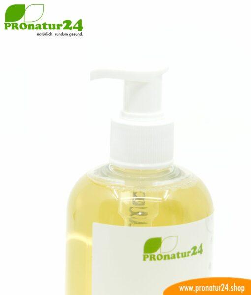HAND & KÖRPER SEIFE flüssig. Eine Flüssigseife die auch ein wunderbares Duschgel ist. Porentief reinigend und pflegend zugleich.