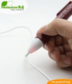 TESTBOY 114. Berührungsloser Spannungstester zur Erkennung von Unterbrüchen im Elektrokabel. Auch geeignet für Niedervolttechnik ab 12 Volt AC.