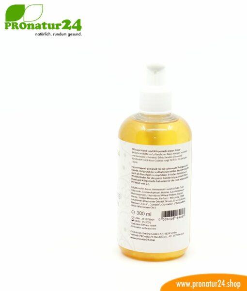 HAND & KÖRPER SEIFE zitrone, flüssig. Eine Flüssigseife die auch ein wunderbares Duschgel ist. Porentief reinigend und pflegend zugleich.