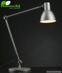 Geschirmte Lampe für Schreibtisch und Arbeitsplatz. Ideale Werkleuchte. 48 Watt. E27. Alu Silber Design. Wähle die Halterung!