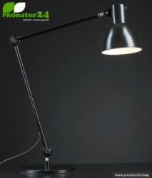 Geschirmte Leuchte für Schreibtisch und Arbeitsplatz. Ideale Werklampe. 48 Watt. E27. Schwarz Design. Wähle die Halterung!