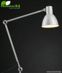 Geschirmte Leuchte für Schreibtisch und Arbeitsplatz. Ideale Werklampe. 48 Watt. E27. In weisser Ausführung.