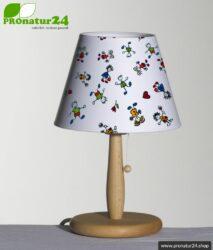 Geschirmte Tischleuchte für Kinder aus Buchenholz mit Lampenschirm aus Baumwolle. 31 cm Höhe, E27 Fassung, 40 Watt.
