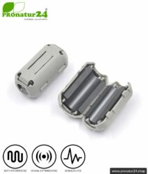 GRATIS Ferritkern Filter gegen Elektrosmog im Headsetkabel, grau, klickbar, für 5 mm Kabel. 1x FERRITKERN GESCHENK!
