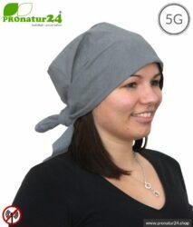Abschirmendes Kopftuch TKG mit 41 dB Schirmdämpfung. Schützt vor HF Funkstrahlung. Nicht dehnbar, grau, 2 Varianten. Wirkungsvoll gegen 5G!