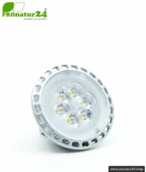6 Watt LED Vollspektrum Spot. Natur-nah flimmerfreies Licht. Hell wie 35 Watt! 5200 Kelvin. 450 Lumen. GU5.3 (MR16) Sockel.