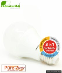 9 Watt LED Lampe Pure-Z-Retro Tricolor BIO LICHT. Hell wie 80 Watt. 800-850 Lumen (3000 K / 4000 K / 6500 K ). E27 Sockel.