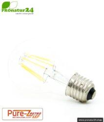 6,4 Watt LED Filament Pure-Z-Retro BIO LICHT   Hell wie 60 Watt, 600 Lumen   Warmweiß (2700 Kelvin)   CRI >90, flimmerfrei (< 1%), E27
