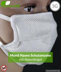 ANTIWAVE Schutz Maske mit Nasenbügel für Mund und Nase | aus Abschirmstoff mit antibakterieller Wirkung | 3x Maximum in Hygiene, Wirkung und Tragekomfort!