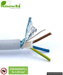 (N)HXMH(St)-J | 3x 1,5 mm² geschirmtes Elektrokabel Mantelleitung | Halogenfrei | Weichmacherfrei | Verlegekabel zur Vermeidung elektrischer Felder NF | 25 Meter + 100 Meter