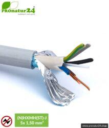 (N)HXMH(St)-J | 5x 1,5 mm² geschirmtes Elektrokabel Mantelleitung | Halogenfrei | Weichmacherfrei | Verlegekabel zur Vermeidung elektrischer Felder NF | 25 Meter + 100 Meter